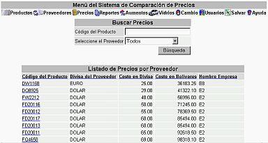 Sistema Comparacion Precios Por Proveedor (19K)