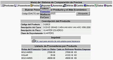 Sistema Comparacion Precios Reporte Proveedor Por Producto (20K)